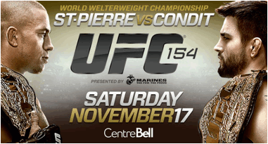"Quebec residents can watch UFC 154 ""St-Pierre vs. Condit"" in select movie theatres on Nov. 17"