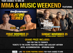 Win a trip to see The Score Fighting Series and Rock and Roll band on Nov 23 in Hamilton
