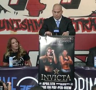 Tito Ortiz/Cyborg Santos press conference video replay for Invicta signing