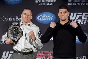 """UFC 158 media conference call """"heated"""" highlights with GSP and Diaz"""