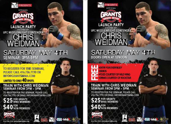 Meet UFC middleweight Chris Weidman in Toronto at Grant Brothers MMA