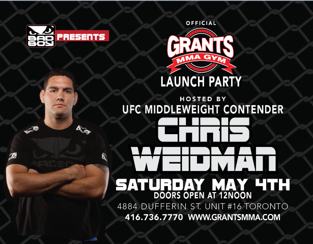 Grants MMA Gym to host UFC Middleweight contender Chris Weidman on May 4th 2013