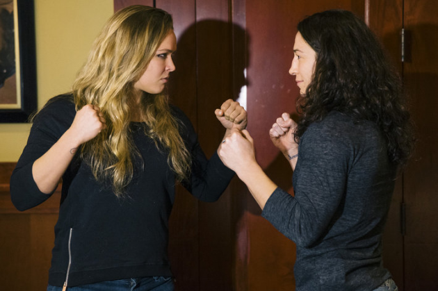 Quick Pic: Ronda Rousey and Sara McMann staredown pic from UFC 170 media event