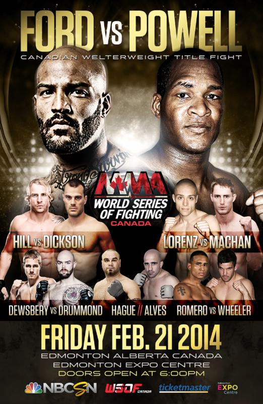 WSOF Canada: Ford vs. Powell complete fight card set for Feb 21 at Edmonton Expo Centre