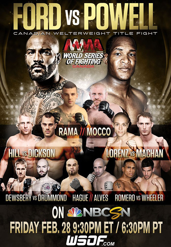 WSOF Canada 2: Co-Main event announcement and ticket on sale date released