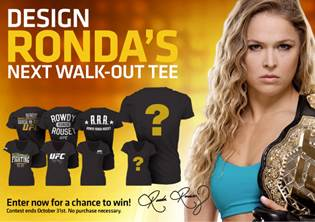 """Design a UFC Walkout T-shirt to be worn by Ronda Rousey and win an """"Ultimate UFC Pack"""""""