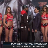 Quick Pic:  Mayweather and Pacquiao staredown photo