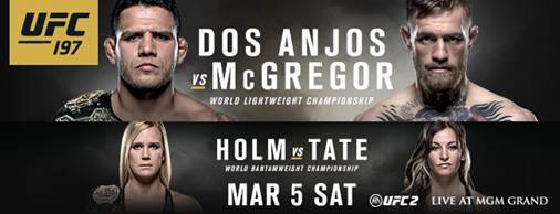 Official! UFC 197 features two title fights: Holm vs. Tate, Dos Anjos vs. McGregor in Las Vegas
