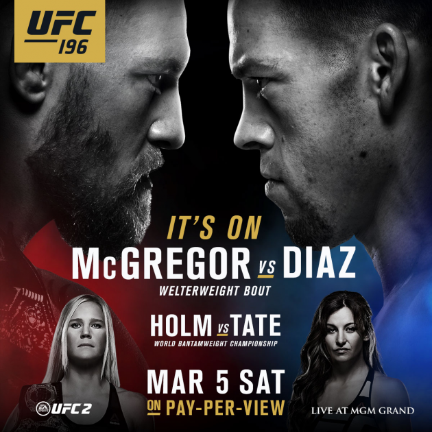 Nate-Diaz Replaces injured dos Anjos, and will fight McGregor in UFC 196 Main Event
