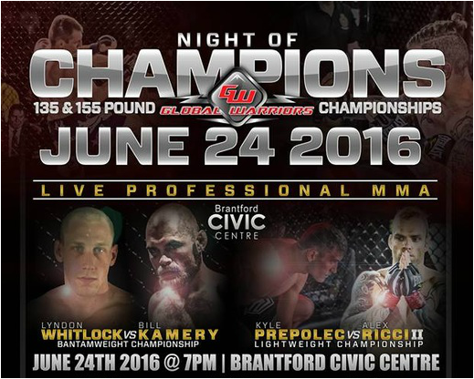 Win FREE pair of tickets to see MMA Fights in Brantford, Ontario at Global Warriors Championships