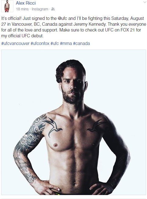Woodbridge, Ontario's Alex Ricci gets UFC opportunity this Saturday at UFN Vancouver