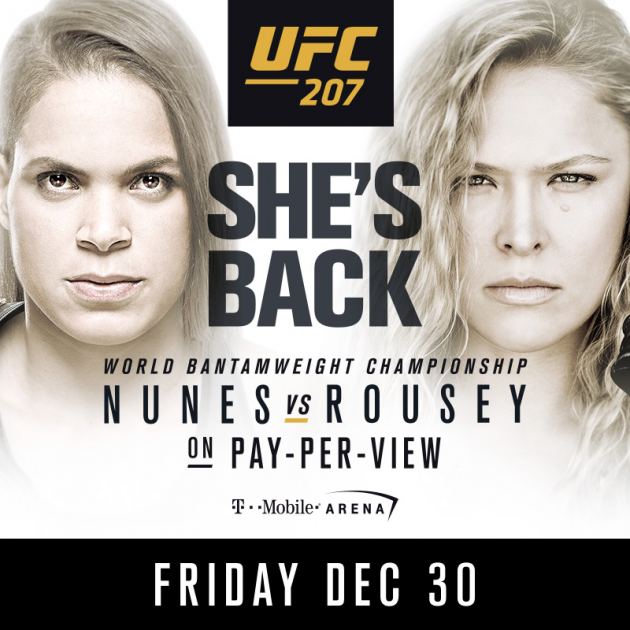 """Preview: UFC 207 fight card and preview for """"Nunes vs Rousey"""" on Dec. 30"""