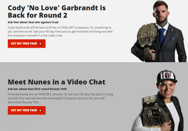 Introducing Padlokt! Talk live with UFC celebrities on video chat