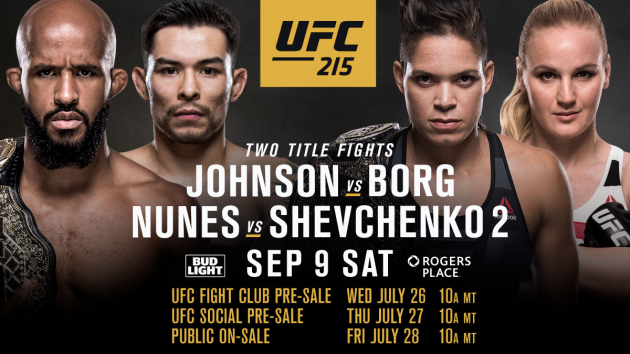 UFC 215 Edmonton current and updated fight card