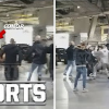Raw video: Conor McGregor crashes UFC 223 media day, Michael Chiesa cut during wild bus attack
