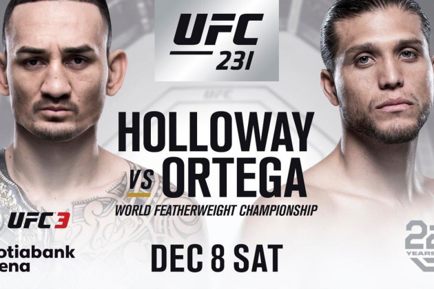 "Finalized UFC 231 fight card for Toronto's ""Holloway vs Ortega"" PPV on Dec. 8"